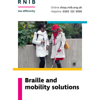 Front cover of braille and mobility booklet