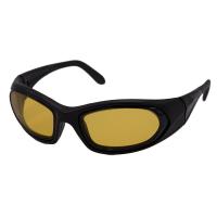 SideVue wraparound eyeshields with black frames and yellow filter