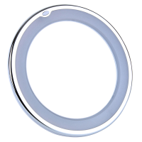 Front angle view of a chrome edged mirror