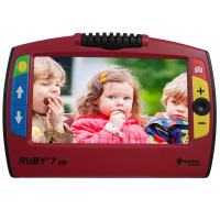 Ruby 7 HD PivotCam portable video magnifier with a picture of three small children on the screen
