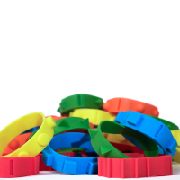 Brightly coloured tactile rubber band-its in each design bundled together