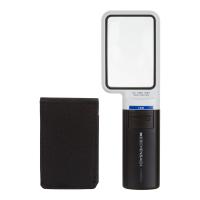 Eschenbach hand magnifier next to a rectagular black protective case