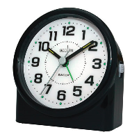 A front angled silent easy-to-see alarm clock in black with a white clock face