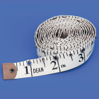 Close up of a white tactile tape measure