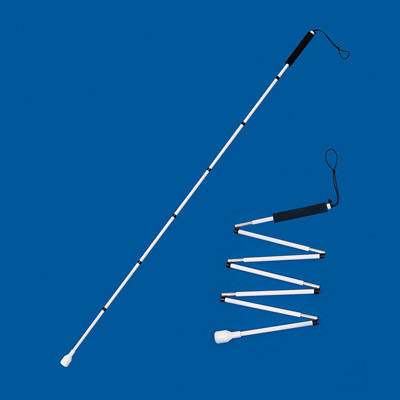 Slimline graphite folding long cane with a marshmallow tip extended for use and part-folded