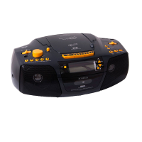 A top and front view of a black radio with yellow high contrast buttons with raised tactile symbols