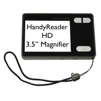Front of a HandyReader HD video magnifier with black text on white background o the screen
