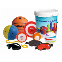 Activity kit equipment outside of the storage tub