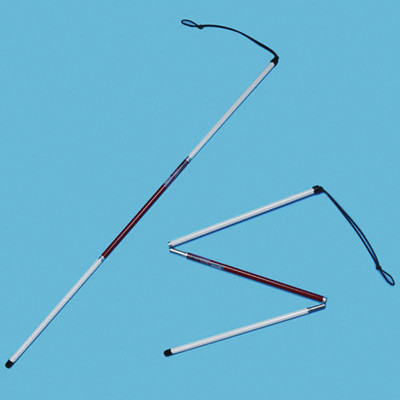 Aluminium deafblind folding symbol cane with a black ID tip extended for use and part-folded