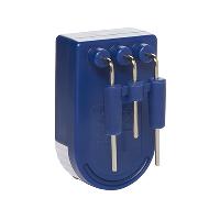 Front of blue Liquid level indicator showing metallic prongs