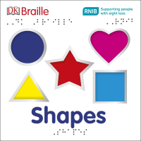 Front cover of the DK Braille Shapes book featuring five shapes in different colours