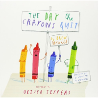 Front cover with disgruntled crayons illustrated