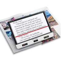 Visolux magnifier switched on with a red line underlining text