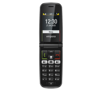 Front view of Emporia TALKactive T221 4G Mobile Phone open showing time on screen