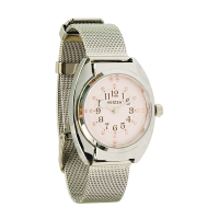 Front view of Reizen tactile watch with mesh strap and pink face