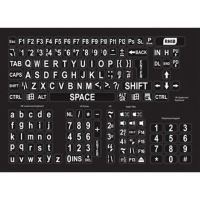 Large print keyboard stickers with white text on black background
