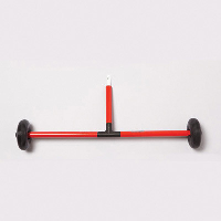 A tip with two wheels attached to a horizontal bar