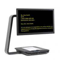 ClearView HD Desktop Video Magnifier with yellow text on a black screen