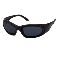 Side view of wraparound eyeshields with black frames and grey filter