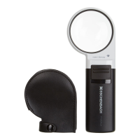The magnifier next to a curved black protective case