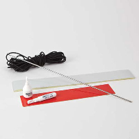 White reflective tape; red reflective tape and elastic cord on a table top