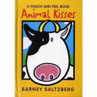 Orange front cover of the touch and feel animal kisses book with a drawing of a black and white cow