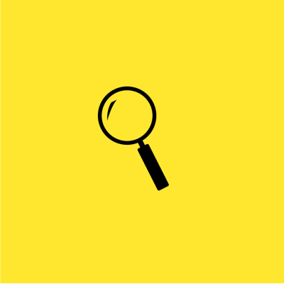 Black magnifying glass on a yellow background.