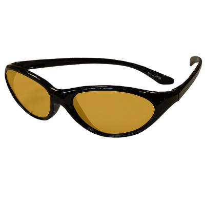 Side view of children's eyeshields with black frames and amber/orange filter