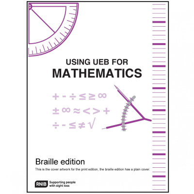 Front cover for using UEB for mathematics (Braille)