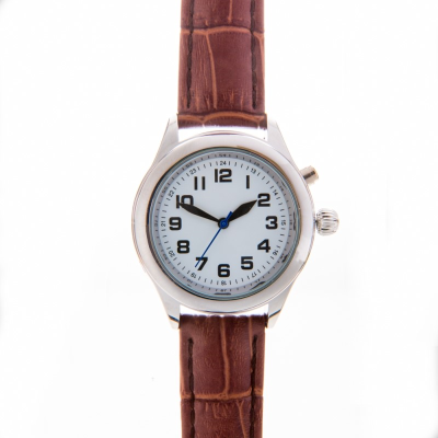 Talking calendar watch with silver case and a brown leather crocodile-effect strap