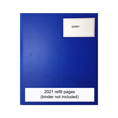 A blue desk diary binder