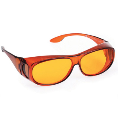 Front view of Orion medium eyeshields with orange filter