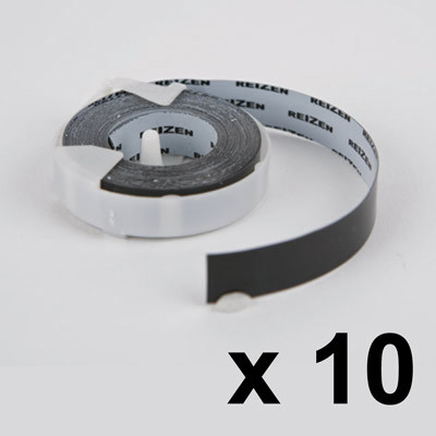 A roll of 12mm black braille labeling tape