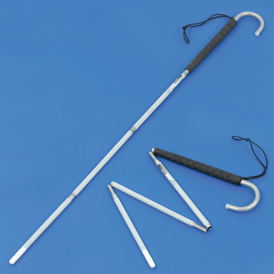 Aluminium crook handle folding long cane with a pencil tip