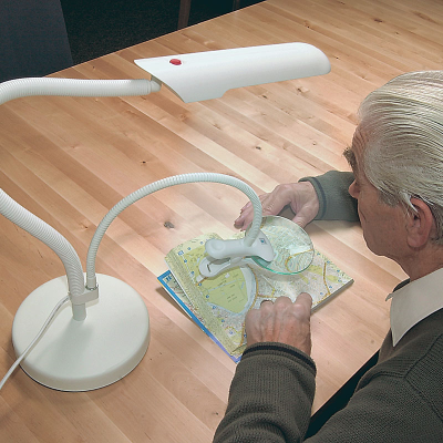 Standalone lamp and magnifier