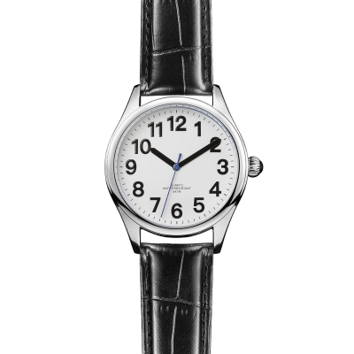 Gentleman's easy-to-see white face with bold black numbers and hands with a navy blue second hand
