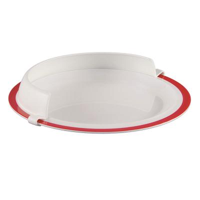 A white plastic plate surround