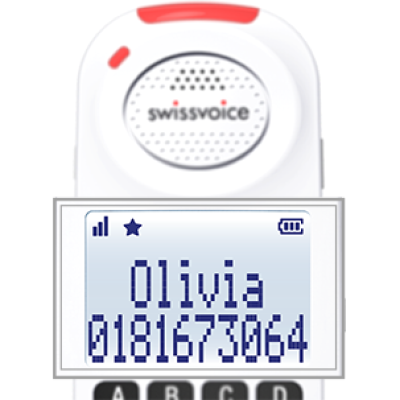 Front view of Swissvoice Xtra 8155 Handset against a white background