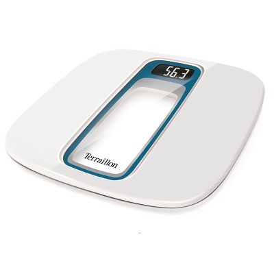 An angled white talking bathroom scale with LCD display visible