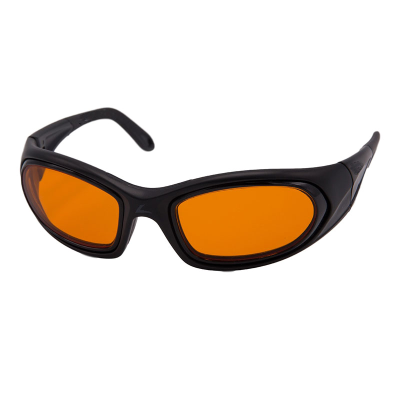 Front view of SideVue wraparound eyeshields with black frame and orange filter