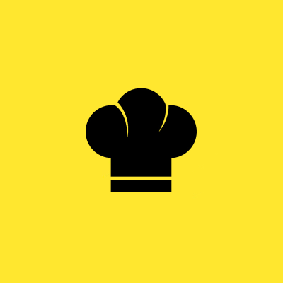A yellow cover depicting a chef's hat