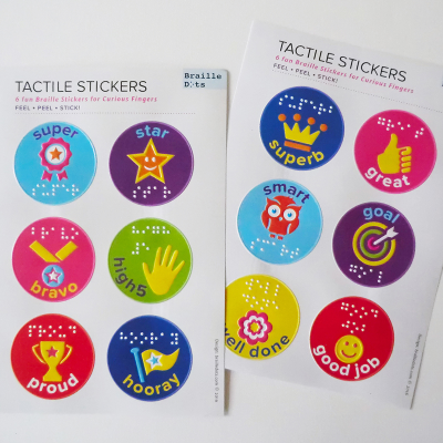 Braille Dots tactile reward stickers.