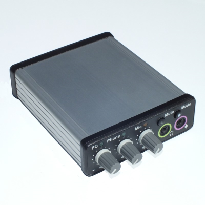 Front image of Duo-Comm 2 splitter box audio mixer