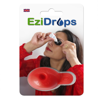 EziDrops eye-drop applicator against a white background