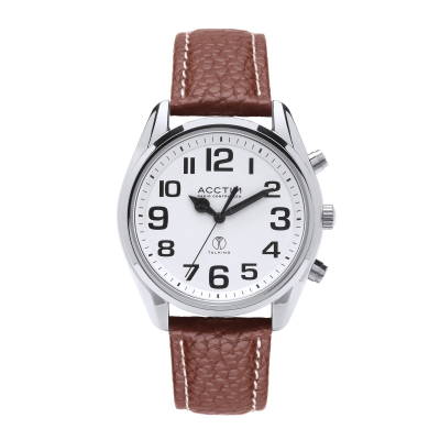 Large radio-controlled watch with silver case, white face and brown strap