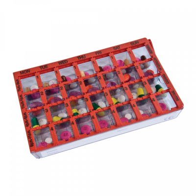 Top angle of the pill organiser showing the weekly pill organiser's 28 compartments