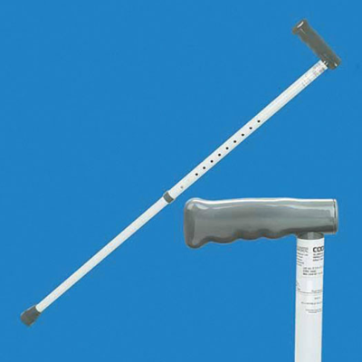 Full length adjustable walking stick next to a close up of the grey straight handle