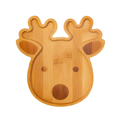 Reindeer bamboo shaped plate against a white background