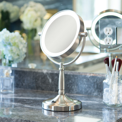 Front view of chrome pedestal mirror
