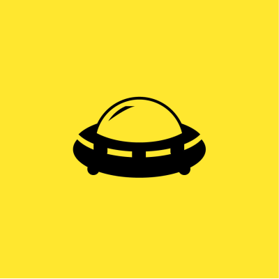 A yellow cover depicting an alien spacecraft